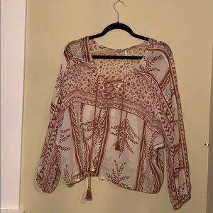 Free People Red and White Floral Blouse